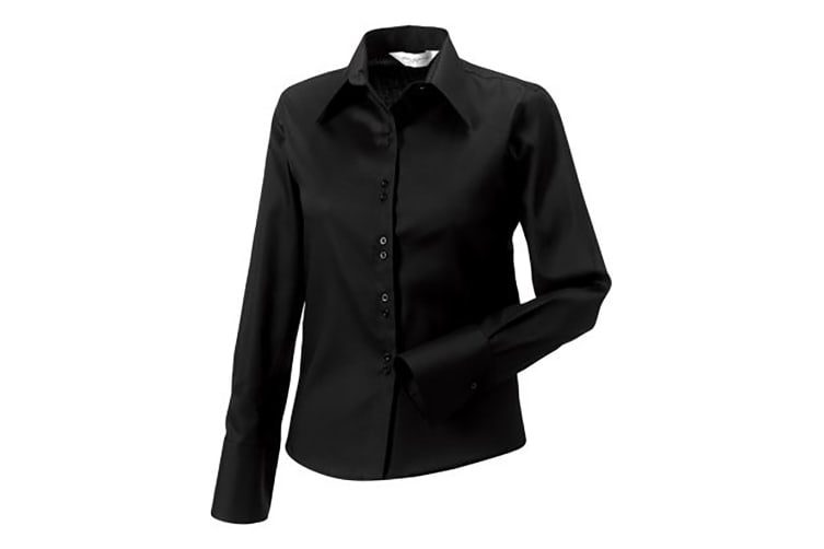 Russell Collection Ladies/Womens Long Sleeve Ultimate Non-Iron Shirt (Black) (XL)