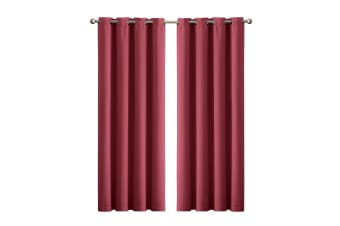 2X 90% Blockout Curtains Panels 3 Layers Eyelet Room Darkening 230cm Drop  -  Wine140x230cm