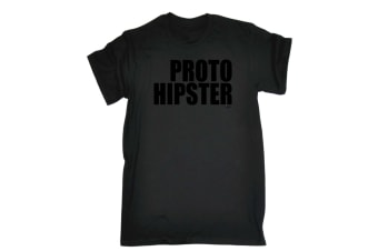 123T Funny Tee - Proto Hipster - (Medium Black Mens T Shirt)