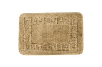 Euroban Small Rectangular Swirl Bath Mat (Beige) (40 x 60cm)