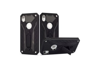 For iPhone XR Case  Armour Strong Shockproof Tough Cover with Kickstand  Black