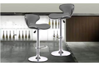 4x PU Leather Swivel Bar stool Gas Lift Adjustable GREY (ED0207)