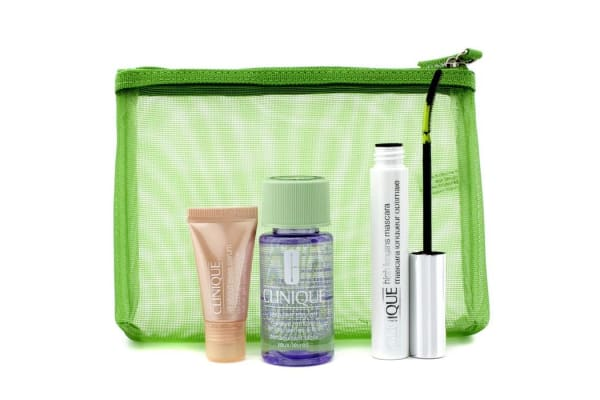 Clinique Lengthen & Define: 1x High Lengths Mascara, 1x All About Eyes Serum, 1x Take The Day Off Makeup Remover, 1x Bag (3pcs+1bag)