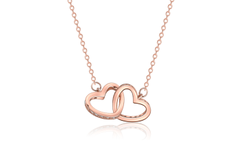 Zircon Double-Heart Short Clavicle Chain With Female Double-Ring Necklace Rose Gold Double Heart