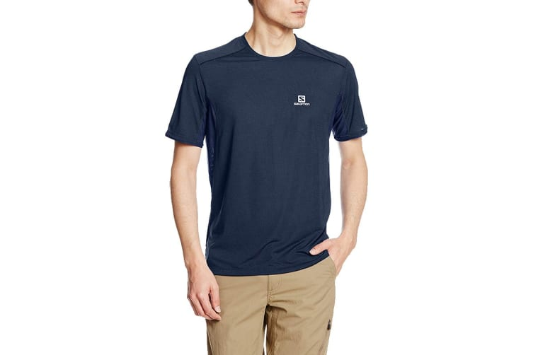 Salomon Trail Runner Short Sleeve Tee Men's (Dress Blue, Size Medium)