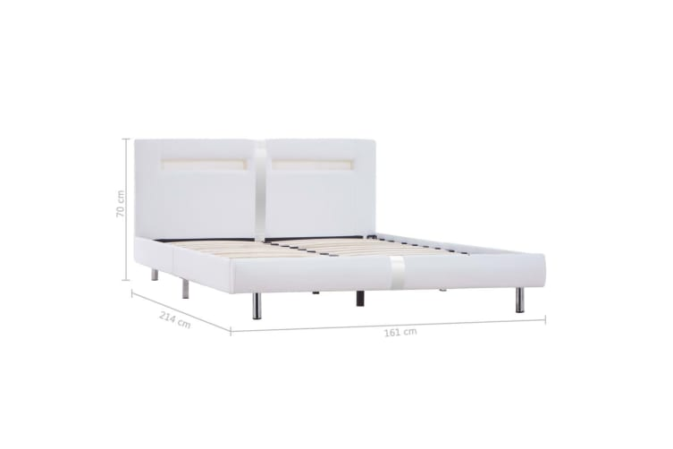 vidaXL Bed Frame with LED White Faux Leather Double