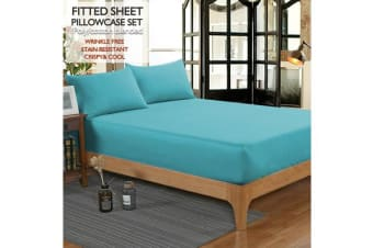 Ultra SOFT - 3 Pcs Teal FITTED Sheet Set Queen Size