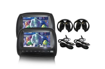 "Elinz 2x 9"" Touch Screen Car Headrest DVD Player Monitor Pillow Games 1080P USB Sony Lens Black"