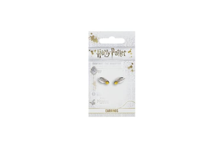 Harry Potter Silver Plated Golden Snitch Earrings (Silver) (One Size)