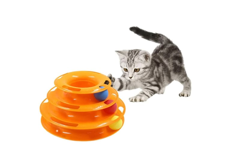 Pet Interactive Toys 3 Levels Tower Tracks Cats Toy Orange