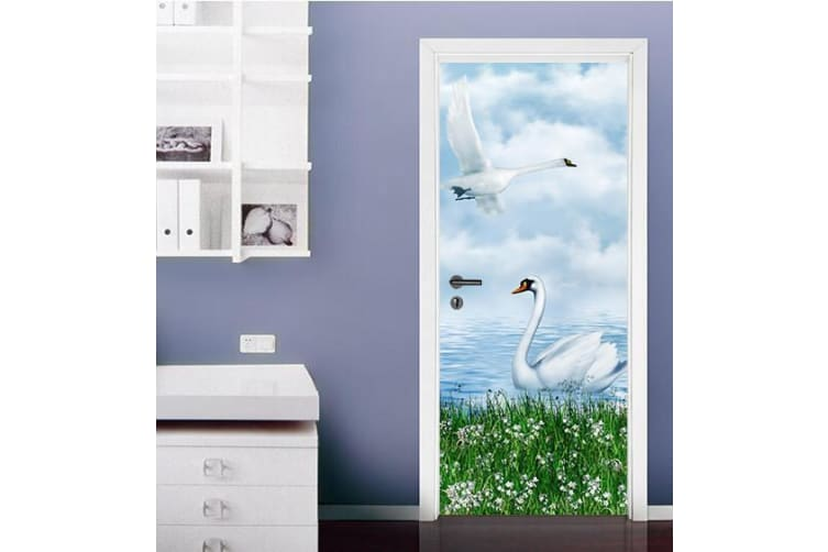 3D Swan The Blue Sky And White Clouds Door Mural Self-adhesive Vinyl, XL 205cm x 80cm (HxW)(81''x31'')