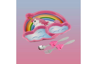 Fantasy Unicorn Dinner Plate Meal Set | Plate, Fork & Knife!