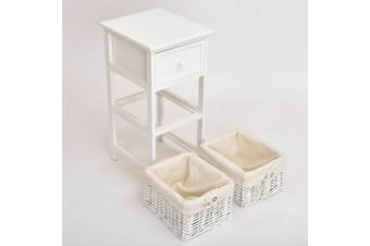 2 Pcs Bedside Tables Shabby Chic Wicker Drawers Storage White Units Bedroom