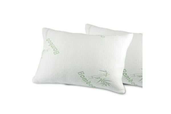 Image of 2 Pcs Luxury tural Bamboo Memory Foam Pillow With Fabric Cover 60x40cm