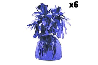 Unique Party Foil Tassels Balloon Weights (Pack Of 6) (Purple)