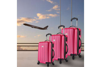 Milano Deluxe 3pc ABS Luggage Suitcase Luxury Hard Case Shockproof Travel Set - French Rose