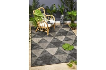 Wyatt Black & Natural Geometric Coastal Rug 400x 300cm