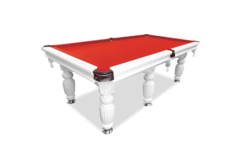 9FT Luxury Slate Pool Table Solid Timber Billiard Table Professional Snooker Game Table with Accessories Pack, White Frame / Red Felt