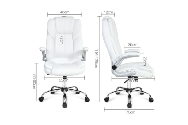 PU Leather Adjustable Racing Style Office Chair (White)