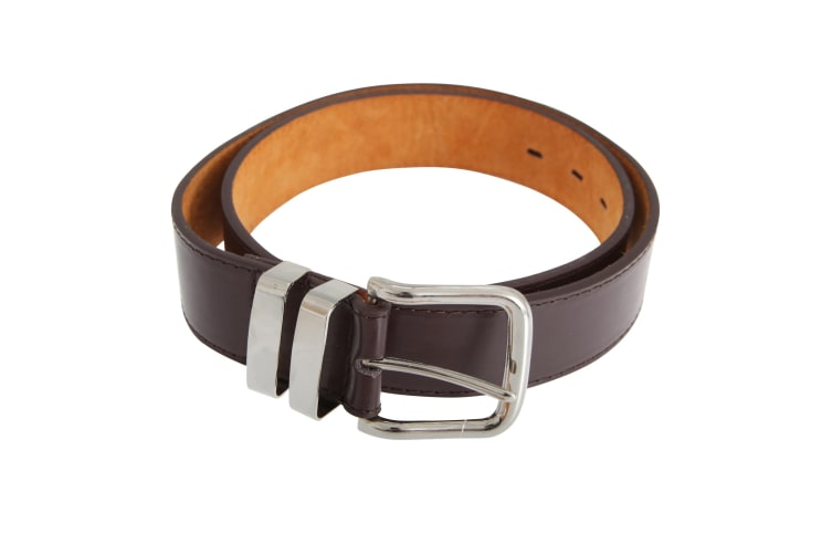 Forests Belts Mens 1.5 Inch Bonded Leather Trouser Belt With Double Loop Chrome Buckle (Brown) (XX-Large (44 - 48))