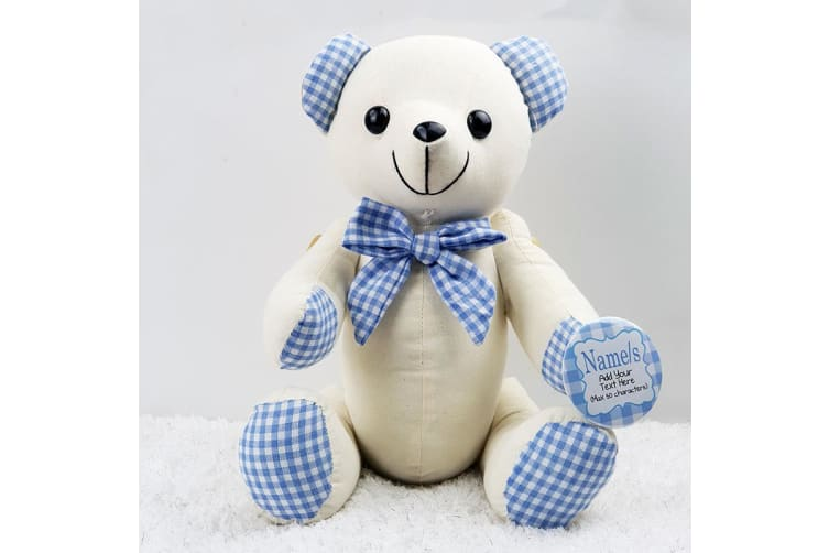 Personalised 1st Birthday Signature Bear - Blue Gingham