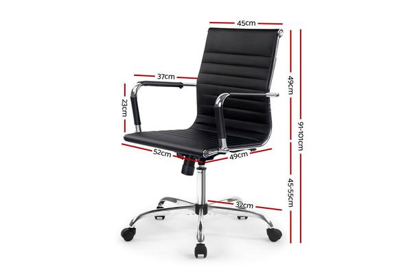 Artiss Eames Replica Premium PU Leather Office Chair Executive Work Computer Black
