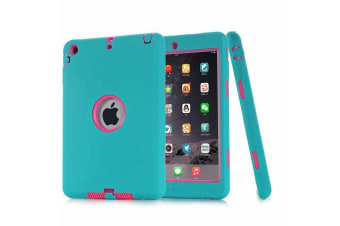 Heavy Duty Shockproof Case Cover For iPad Mini 4-Blue/Hot Pink