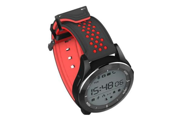 """Bluetooth V4.0 Smart Watch 1.1"""" LCD Calorie Count Pedometer IP68 Black Red"""
