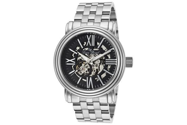 Lucien Piccard Domineer Automatic Skeletonized Silver-Tone and Black (LP-11912-11)