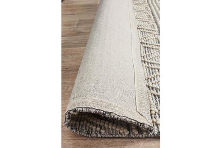 Ryder Natural White & Grey Bohemian Wool Textured Rug 320x230cm