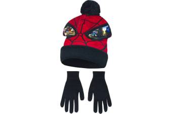 Marvel Ultimate Spider-Man Childrens Boys Mask Winter Hat And Gloves Set (Black/Red) (54cm)
