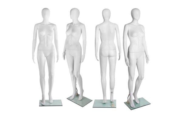 Full Body Female Headless Mannequin Cloth Display Tailor Dressmaker Egg Head (White) 175cm
