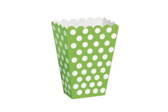 Unique Party Polka Dot Popcorn/Sweet Boxes (Pack Of 8) (Lime Green) (One Size)