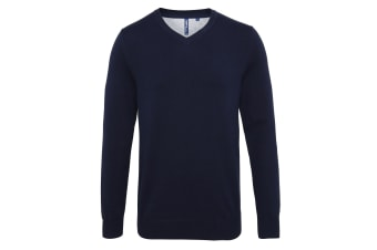 Asquith & Fox Mens Cotton Rich V-Neck Sweater (French Navy) (M)