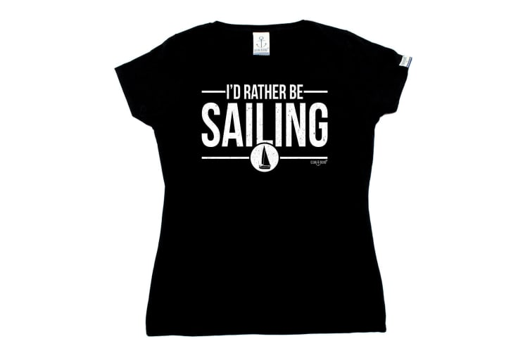 Ocean Bound Sailing Tee - Id Rather Be - (X-Large Black Womens T Shirt)