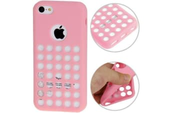 For iPhone 5C Back Case  Grippy Hollow Dot Durable Shielding Cover Pink