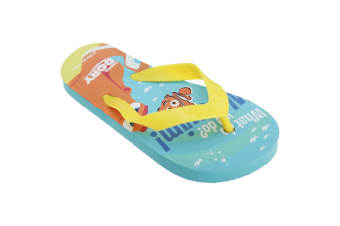 Disney Finding Dory Childrens/Kids Toe Post Flip Flops (Blue/Yellow) (13 Child UK-1 UK  32-33 EU)
