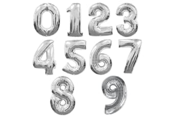 Qualatex 34 Inch Metallic Silver Number Balloons (0-9) (Silver) (3)