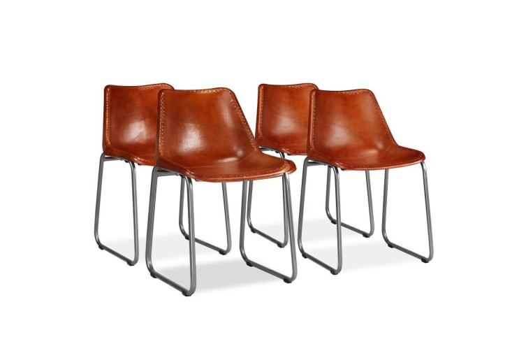 vidaXL Dining Chairs 4 pcs Genuine Leather Brown