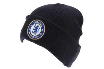 Chelsea FC Official Adults Unisex Turn Up Knitted Hat (Navy)