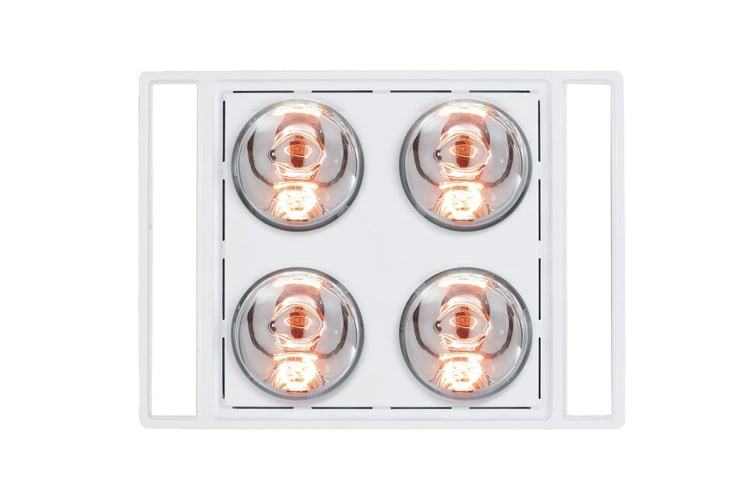 Heller 3-In-1 4 Heat Lamp Ducted Bathroom Heater with 2 Led Light Panels - White (LRBH4ASTRA-W)