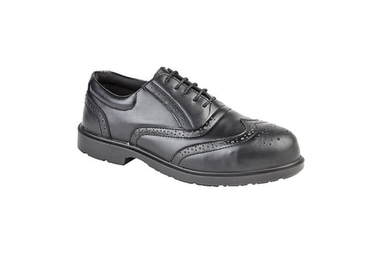 Grafters Mens Uniform Perforated Leather Non-Metal Safety Shoes (Black) (7 UK)