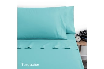 250TC Polyester Cotton Sheet Set Double Turquoise by Artex