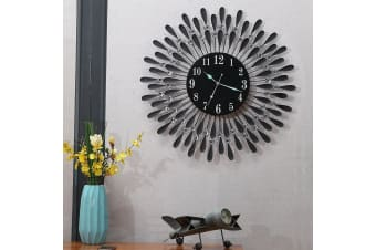 Large Modern 3D Crystal Wall Clock Luxury Round Dial Black Drops Home Office Dec