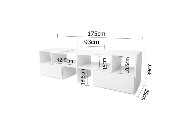 TV Stand Entertainment Unit Adjustable Cabinet (White)