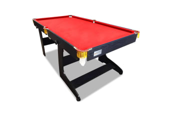 6FT Red Felt MDF Foldable Fold Away Pool Table for Billiard Snooker Free Accessory for Kids and Teenage,Easy Storage