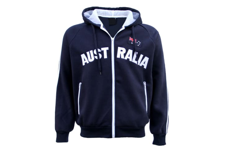 New Adults Australia Day Zip Up Hoodie Jacket w Flag Souvenir Jumper Sports Coat - Navy