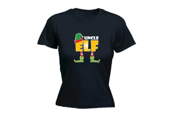 123T Funny Tee - Elf Uncle - (Large Black Womens T Shirt)