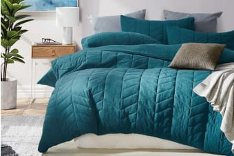 Gioia Casa Quilted Jersey Quilt Cover (Super King/Soft Teal)