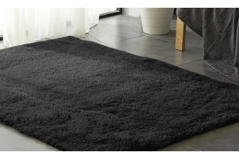 New Designer Shag Shaggy Floor Confetti Rug Carpet 80x120cm Fast Delivery  -  Black